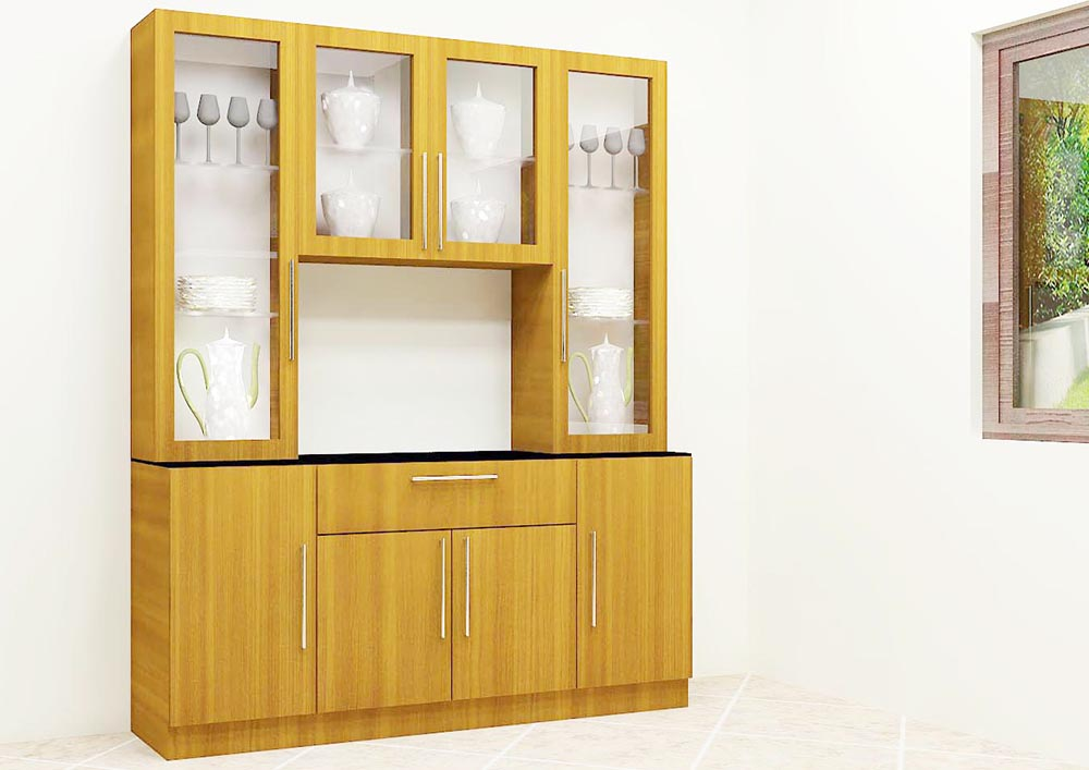 Delicieux Full Wall Teak Crockery Unit