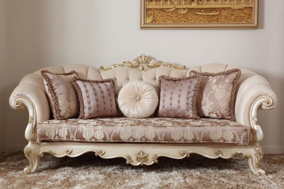 Attractive White Wooden Carved Sofa Set