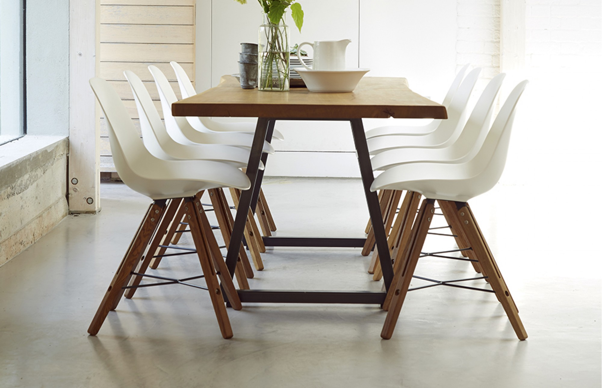Brown Straight Dining Table Home Room 8 Seater